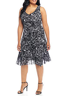 Plus Size Watermark Tank Flare Dress