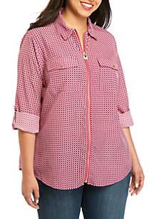 MICHAEL Michael Kors Plus Size Bias Tile Dog Tag Shirt
