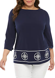ea141c35e8b ... MICHAEL Michael Kors Plus Size Studded Border Boat Neck Top