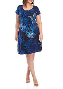 MICHAEL Michael Kors Plus Size Reef Printed Fit and Flare Dress