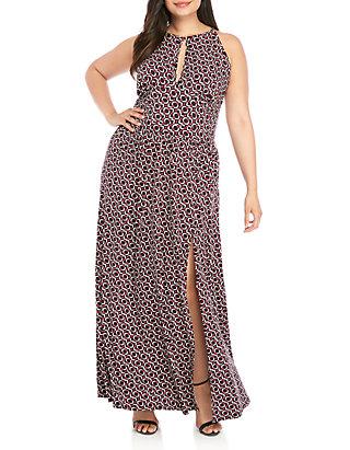 Plus Size Modern Geo Halter Slit Maxi Dress