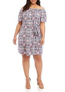 MICHAEL Michael Kors Plus Size Off The Shoulder Mosaic Gauze Dress