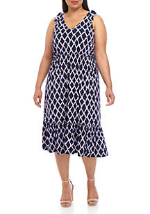 MICHAEL Michael Kors Plus Size Diamond Tier Midi Dress