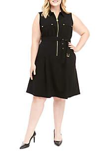 MICHAEL Michael Kors Plus Size Sleeveless Dog Tag Dress