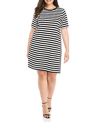 shop for genuine wholesale online famous brand Plus Size Stripe Short Sleeve T Shirt Dress