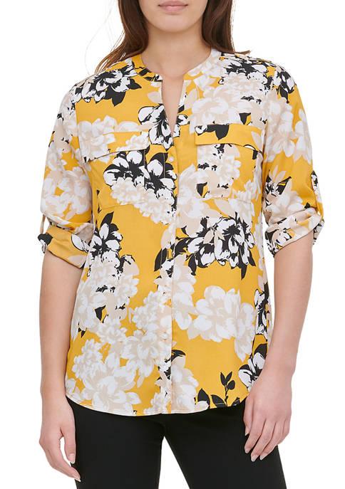Calvin Klein Womens Roll Tab Floral Print Shirt