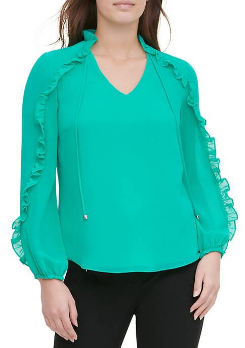 Calvin Klein Womens Long Sleeve Ruffle Trim Blouse