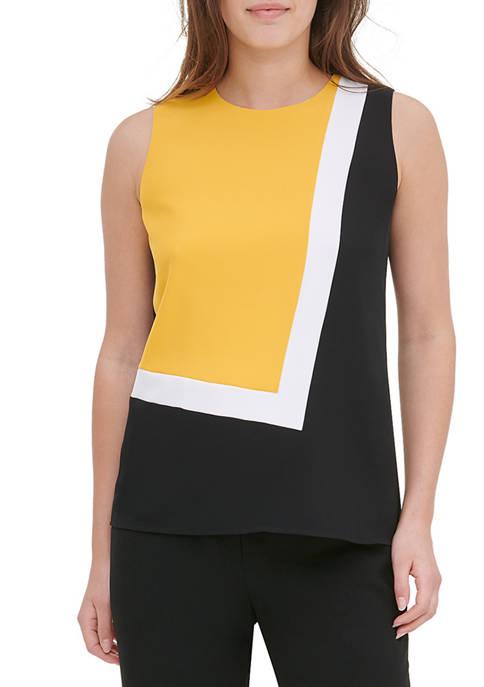 Womens Sleeveless Color Block Blouse