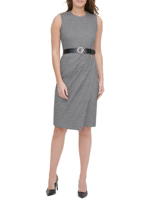 Calvin Klein Womens Sleeveless Gingham Shift Dress