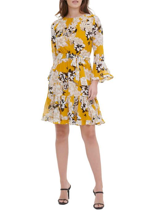 Calvin Klein Womens Floral Full Skirt Dress
