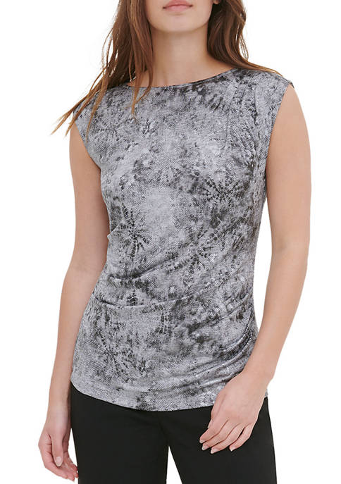 Womens Cap Sleeve Metallic Tie Dye Top