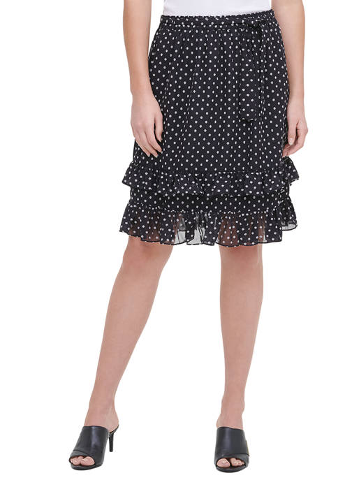 Calvin Klein Womens Ruffle Trim Skirt