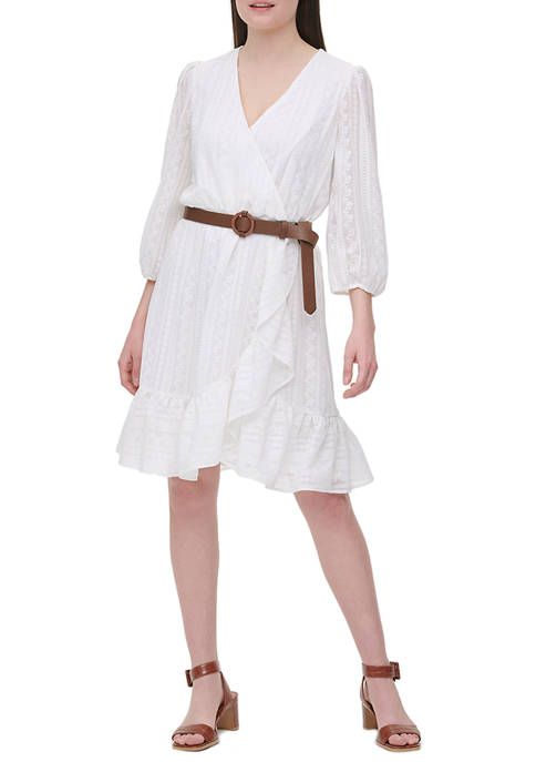 Womens 3/4 Sleeve Faux Wrap Belted Dress