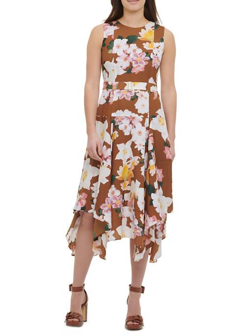 Calvin Klein Womens Sleeveless Printed Hanky Hem Dress