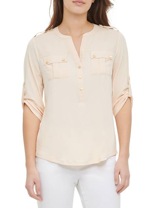 Calvin Klein Womens Roll Sleeve Pocket Top