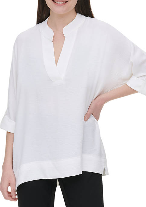Calvin Klein Womens Roll Tab Sleeve V-Neck Top