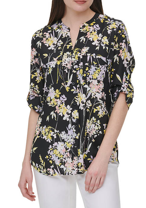 Calvin Klein Womens Roll Tab Sleeve Print Top