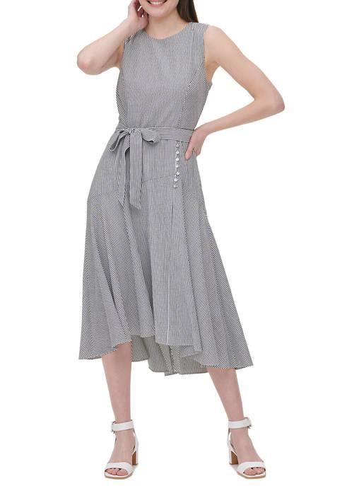 Calvin Klein Womens Sleeveless High Low Seersucker Dress