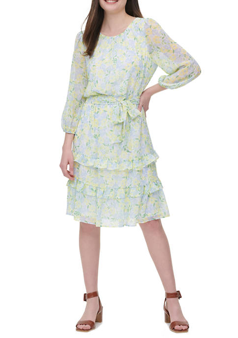 Womens Long Sleeve Print Belted Ruffle Dress