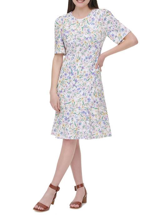 Calvin Klein Womens Short Sleeve Print Floral Scuba