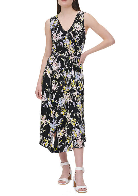 Calvin Klein Womens Sleeveless V-Neck Belted Matte Jersey