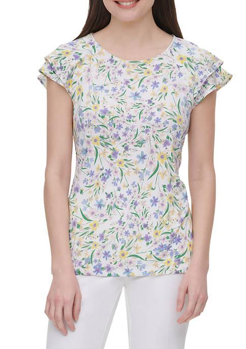 Calvin Klein Womens Short Sleeve Ruffle Print Top