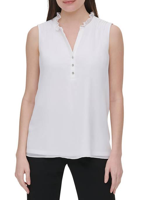 Calvin Klein Womens Sleeveless Ruffle Neck Top