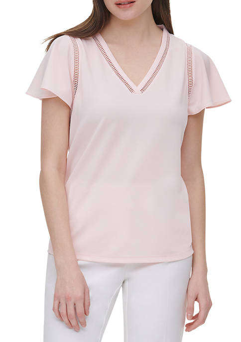 Calvin Klein Womens Short Flutter Sleeve V Neck