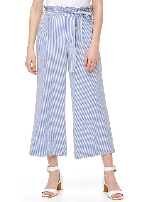 Calvin Klein Womens Wide Leg Seersucker Pants