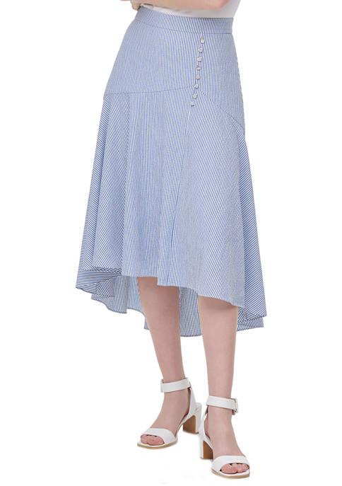 Calvin Klein Womens High Low Seersucker Skirt