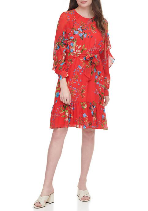 Calvin Klein Chiffon Floral Print Dress