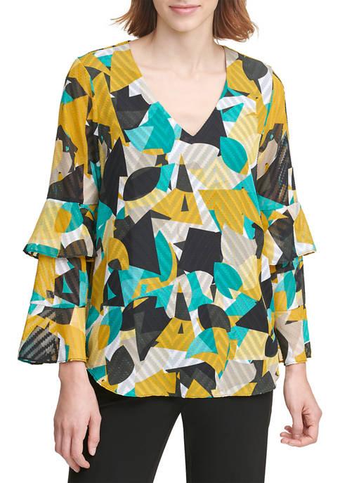 Calvin Klein Printed V-Neck Flutter Sleeve Top