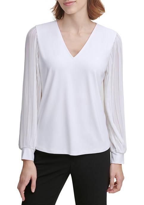 Calvin Klein V-Neck Pleated Chiffon Top