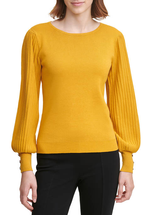 Calvin Klein Crew Neck Pleated Sleeve Top