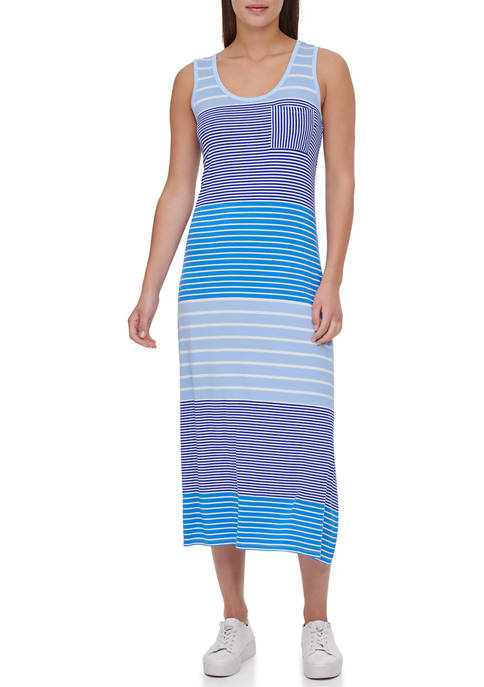 Calvin Klein Sleeveless Multi Stripe Midi T-Shirt Dress