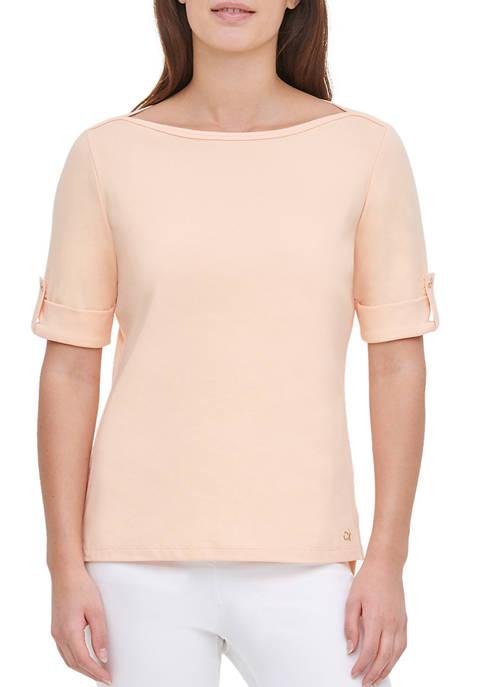Calvin Klein Womens Elbow Tab Sleeve Essential Knit