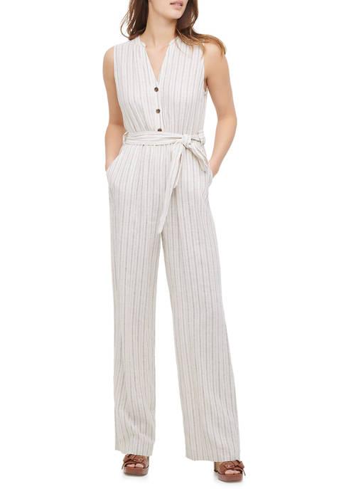 Calvin Klein Womens Linen Stripe Jumpsuit