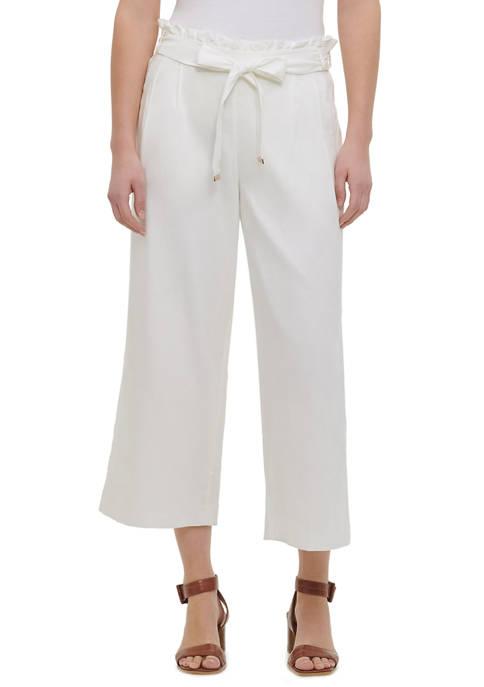 Calvin Klein Womens Linen Paperbag Waist Pants