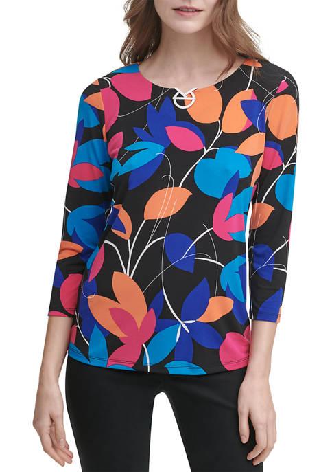 Calvin Klein 3/4 Sleeve Floral Print Hardware Knit
