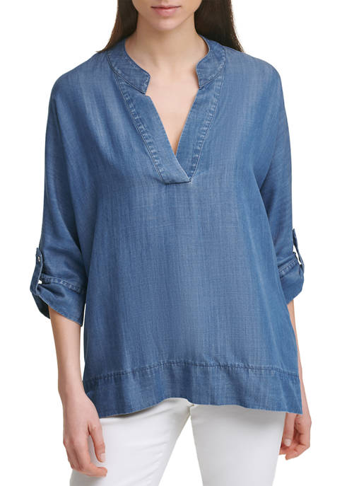 Calvin Klein Lyocell® Roll Sleeve Popover Top