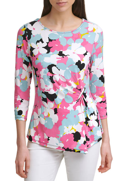 Calvin Klein 3/4 Sleeve Printed Ruched Top with