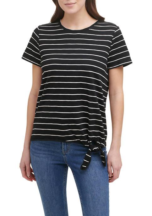 Calvin Klein Short Sleeve Tie Front Slub Knit