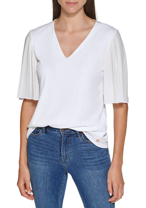 Calvin Klein Womens Pleated V-Neck Matte Jersey Solid