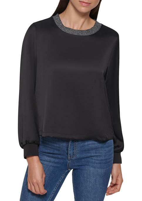 Calvin Klein Womens Long Sleeve Satin Lounge Top