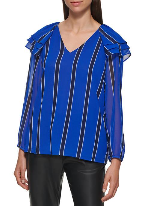 Calvin Klein Womens Long Sleeve Ruffle Shoulder Chiffon