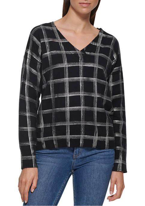 Calvin Klein Womens V-Neck Window Pane Sweater