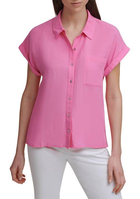 Calvin Klein Shor Sleeve Button Front Linen Shirt
