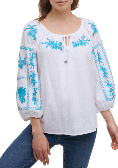 Calvin Klein 3/4 Sleeve Embroidered Peasant Top