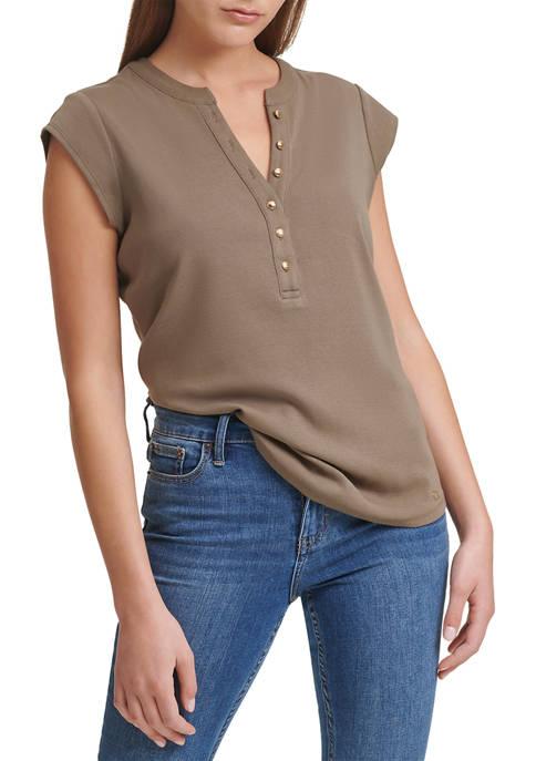 Calvin Klein Cap Sleeve Ribbed Cotton Button Detail
