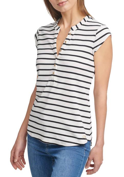 Calvin Klein Sleeveless Stripe Ribbed Top with Button